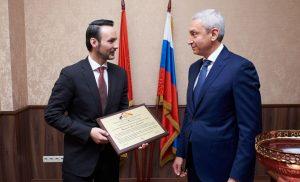 Полпред Борис Джанаев поздравил ректора Пищевого университета с профессиональным праздником