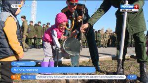 В п.Спутник высадили грушевую аллею в честь 75-летия Победы