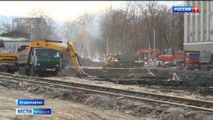 Во Владикавказе продолжается реконструкция проспекта Мира