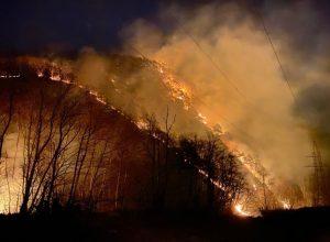 На дороге к КПП «Верхний Ларс» остаются очаги возгорания сухостоя