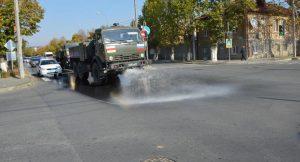 Российские военные начали дезинфекцию улиц Цхинвала