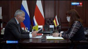 Вячеслав Битаров провел рабочую встречу с и.о. руководителя Агентства развития Ирмой Туаевой