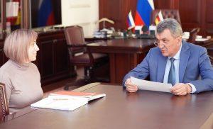 Сергей Меняйло провёл рабочую встречу с врио министра образования и науки Людмилой Башариной